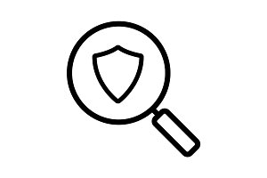 Antivirus program search linear icon