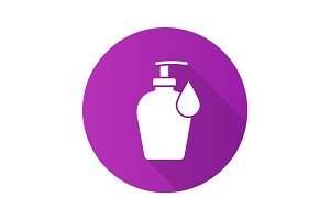 Liquid soap bottle with drop. Flat design long shadow icon