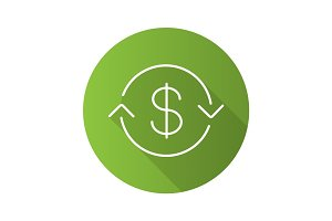 US dollar exchange flat linear long shadow icon