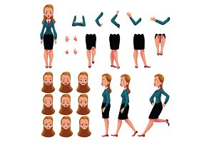 Businesswoman, woman character creation set with different poses, gestures, faces