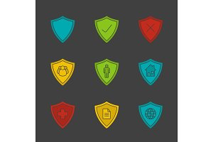 Protection shields glyph color icon set