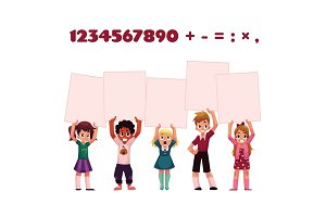 Children, kids holding empty boards for mathematic, arithmetic exercise presentation