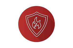 Firefighters badge flat linear long shadow icon