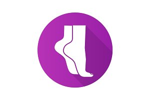 Woman's feet standing on tiptoe. Flat design long shadow icon