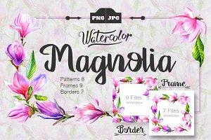 Magnolia watercolor PNG set
