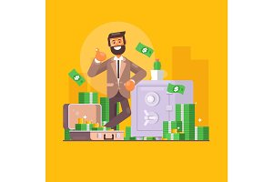 Saving money. Business, finance and investment concept. Businessman character standing near safe full of money. Flat vector illustration
