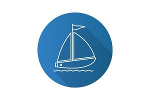 Sailboat flat linear long shadow icon