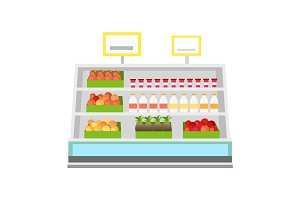 Shelves with Products in Grocery Store Vector.