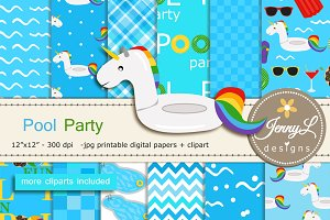 Pool Digital Paper & Clipart