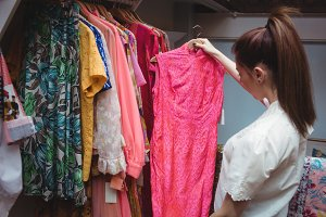 Woman selecting a clothes
