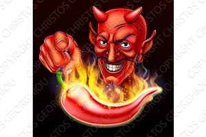 Flaming Hot Pepper and Pointing Devil