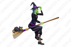 Witch on Broom with Black Cat