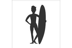 Silhouette of surfer man