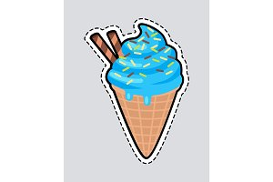 Ice Cream with Two Candy Sticks Isolated. Patch.