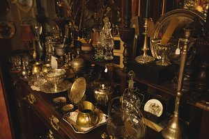 Various vintage equipments arranged in showcase