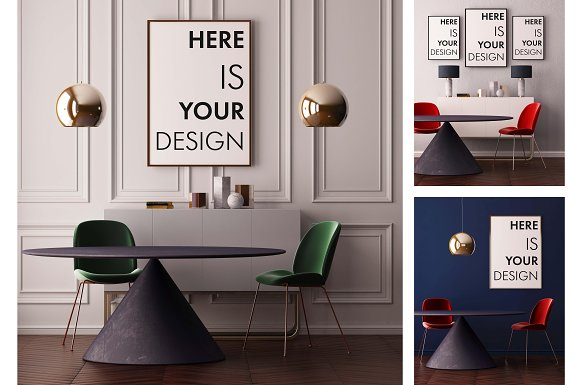 Download Mockup poster with a dining table