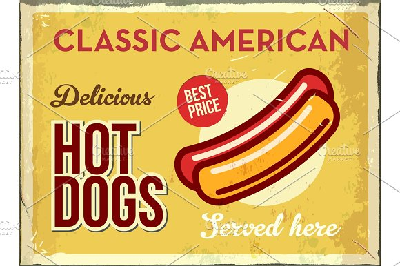 Grunge Retro Metal Sign With Hotdog Classic American Fast Food Vintage Poster With Hot Dog Old Fashioned Design