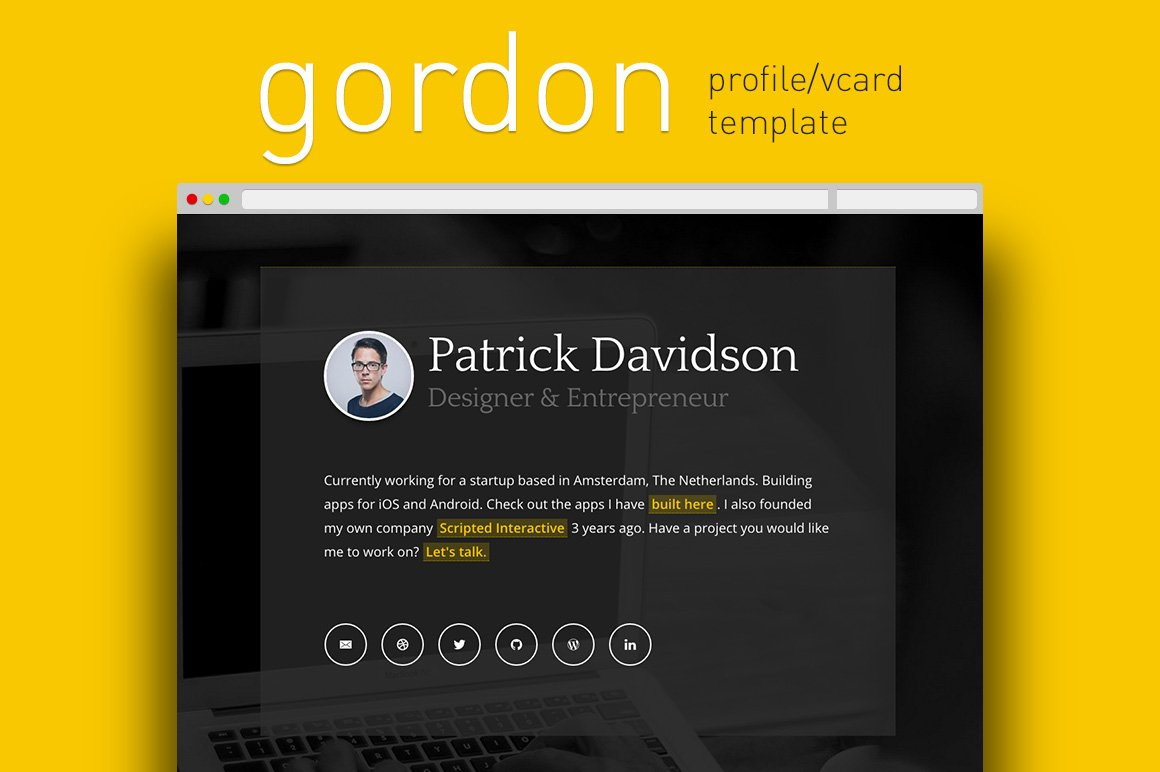 Gordon Profile / Vcard Template ~ HTML/CSS Themes ~ Creative Market