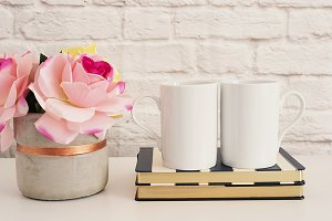 Two Mugs. White Mugs Mockup