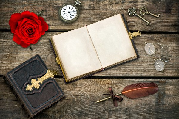 Antique Books And Red Rose