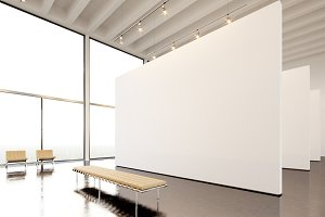 Photo exposition modern gallery,open space.Huge white empty canvas hanging contemporary art museum.Interior loft style with concrete floor,spotlight,generic design furniture and building.3d rendering