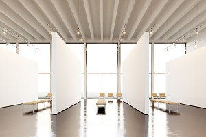 Photo exposition space modern gallery.Blank white empty canvas hanging contemporary art museum. Interior loft style with concrete floor,light spots,generic design furniture and building.3d rendering