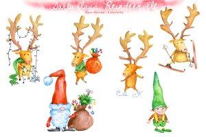 Christmas Santa Claus, Elf, Reindeer