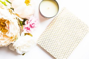 Flowers with Notebook and Candle