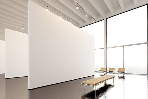 Photo exposition modern gallery,open space.Big white empty canvas hanging contemporary art museum.Interior loft style with concrete floor,light spots,generic design furniture and building.3d rendering