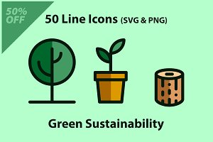 Green Sustainability Icon Set