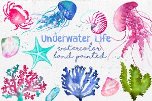 Underwater Life ClipArt Watercolor