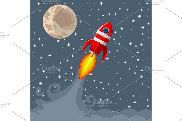 Retro Space Rocket Lifts Off