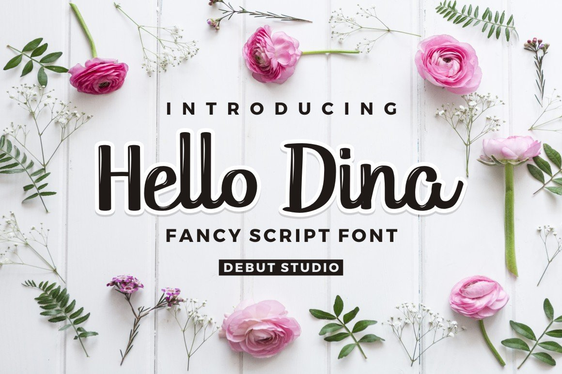 Hello Dina Script Fonts Creative Market Planting Roses Diagram Click For Printer Friendly Download