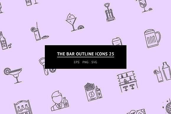 The Bar Outline Icons 25