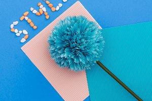 Summer style. Blue flower.