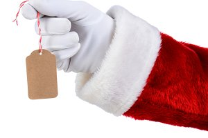 Santa Holding Blank Gift Tag