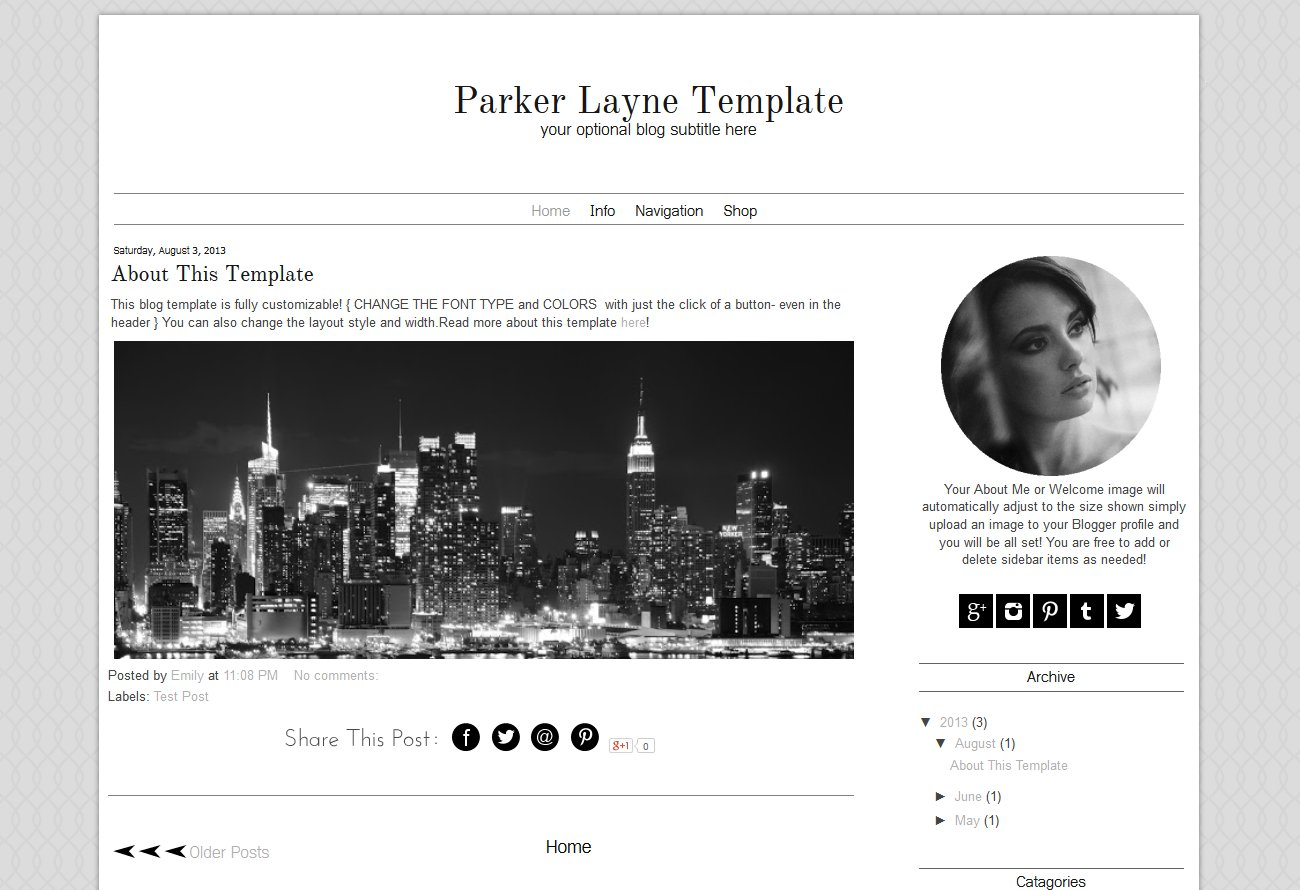 Blogger Template Grey Blog Design ~ Templates ~ Creative Market