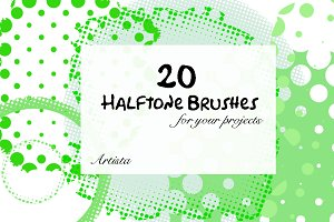 Halftone Photoshop Brush Pack of 20
