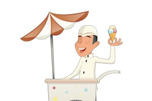 Smiling Ice Cream Seller