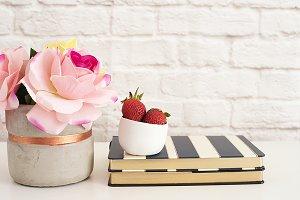 Strawberries On Striped Design Books