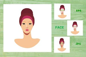 Woman face set