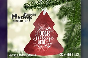 Tree shaped ornament mockup