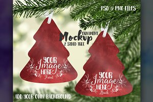 2 sided tree ornament mockup