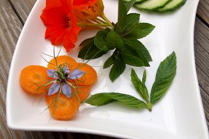Edible flowers and vegetables on try