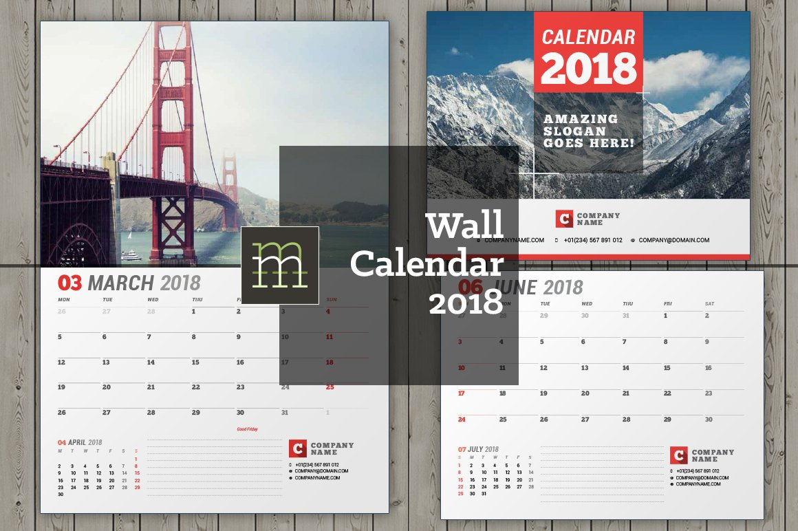 Calendar Design With Photos : Wall calendar wc stationery templates