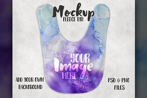 Fleece baby bib mockup