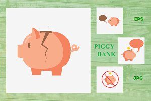 Piggy bank for coins. Vector set