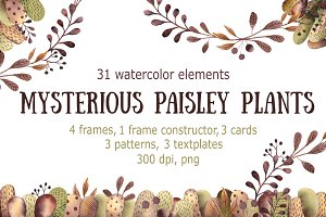 Mysterious Paisley Plants - Clip Art