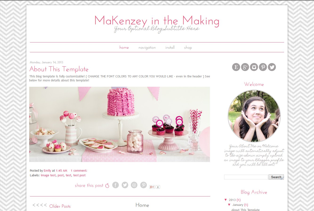 Blogger Template - Pink Grey Chevron ~ Templates ~ Creative Market