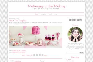 Blogger Template - Pink Grey Chevron